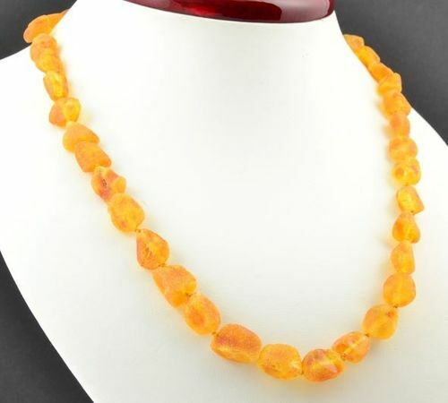 Raw Amber Healing Necklace Made of Precious Baltic Amber