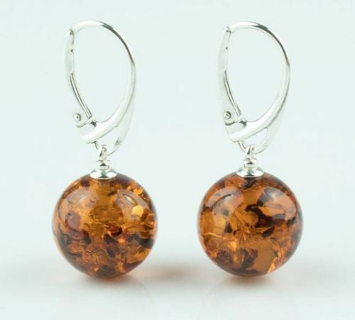 Amber Earrings Handmade of Dark Cognac Baltic Amber