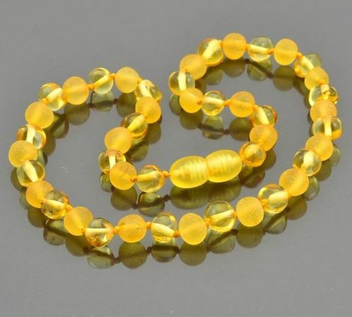 Children's Amber Necklace Made of Matte and Polished Baltic Amber