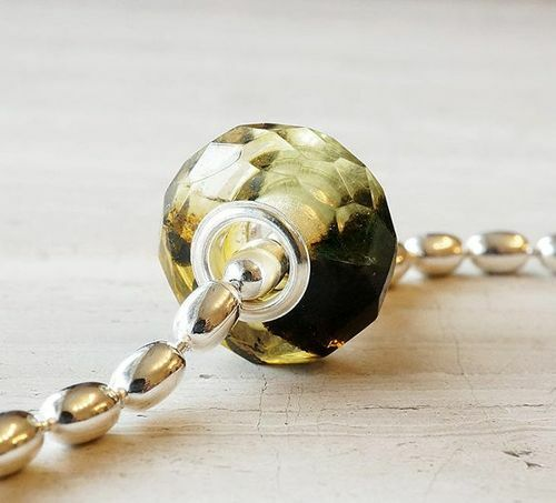 Faceted Pandora Style Charm Bead Made of Amazing Baltic Amber