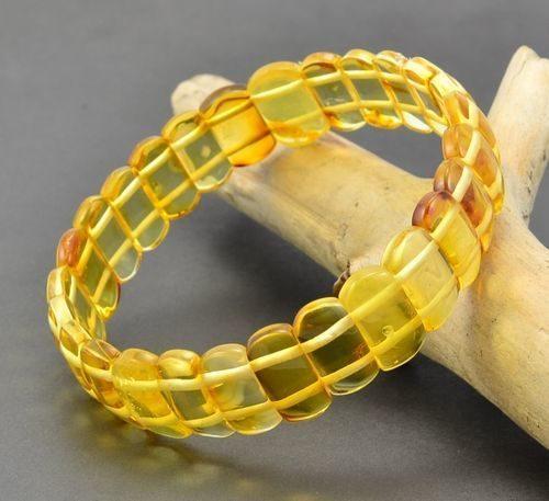 Amber Bracelet Made of Amazing Lemon Baltic Amber