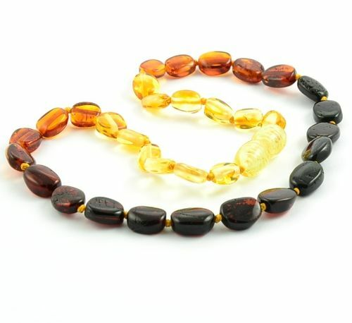 Rainbow Children's Amber Necklace Made of Precious Baltic Amber