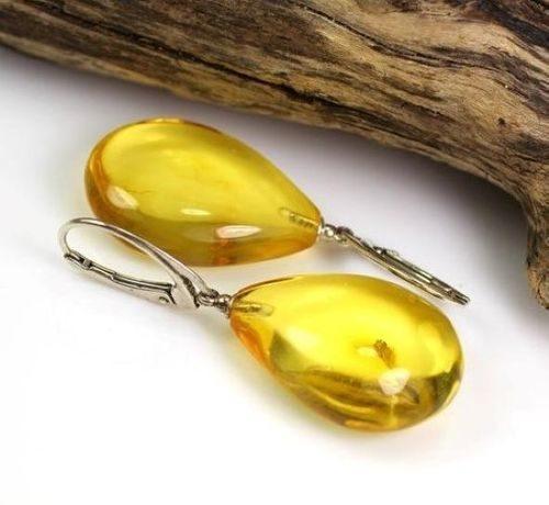 Clear Lemon Amber Earrings Made of Precious Baltic Amber