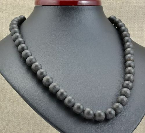 Amber Necklace Made of Black Matte Baltic Amber