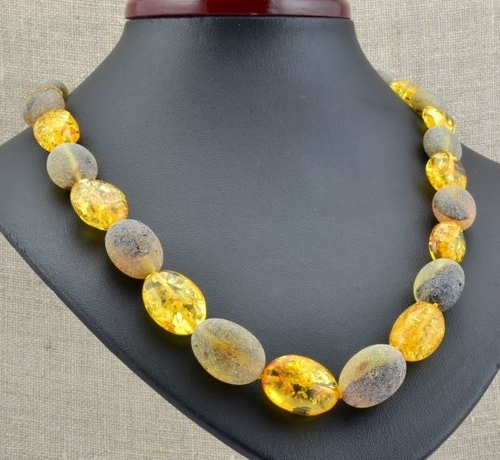 Amber Necklace Made of Raw And Polished Baltic Amber