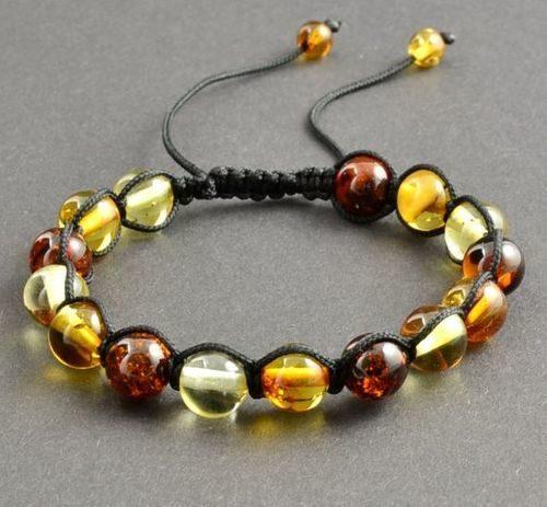 Adjustable Amber Bracelet Made of Precious Healing Baltic Amber