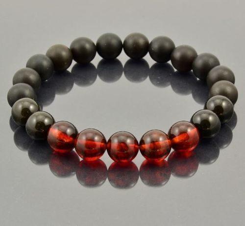 Men's Beaded Bracelet Made of Precious Healing Baltic Amber