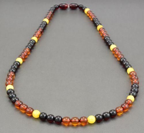 Men's Beaded Necklace Made of Precious Healing Amber