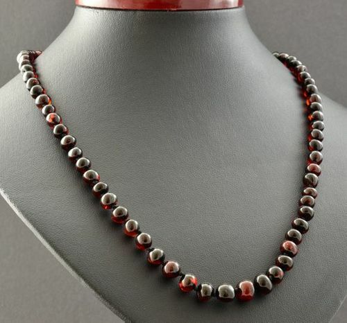 Cherry Amber Necklace Made of Precious Healing Baltic Amber