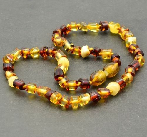 Children's Amber Necklace Made of Multicolor Baltic Amber