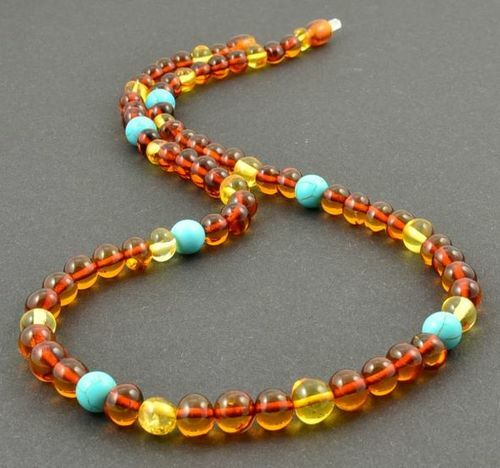 Amber Necklace Made of Baltic Amber and Turquoise