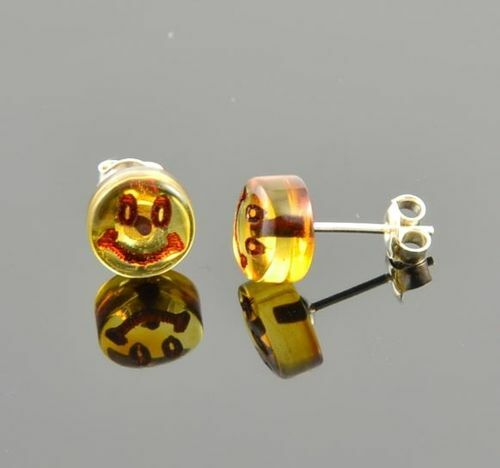Smiley Amber Stud Earrings Made of Precious Baltic Amber