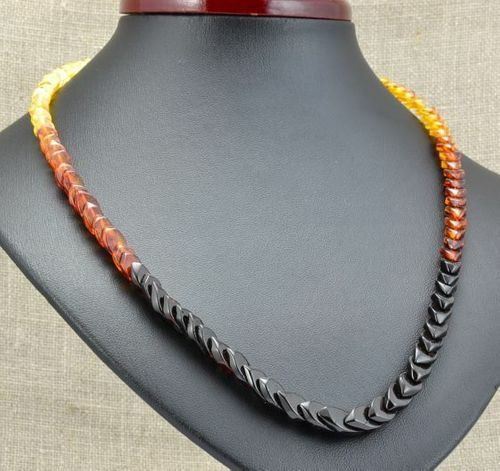 Rainbow Amber Necklace Made of Overlapping Baltic Amber Pieces