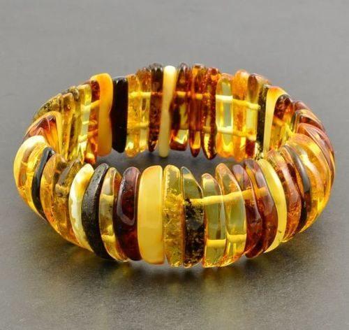 Amber Bracelet Made of Precious Multicolor Baltic Amber