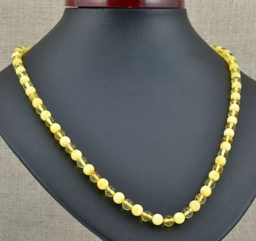 Men's Beaded Necklace Made of Butterscotch and Lemon Amber