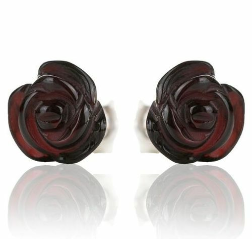 Amber Rose Stud Earrings Made of Amazing Healing Baltic Amber