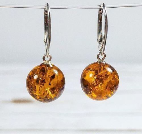 Amber Earrings Handmade of Cognac Baltic Amber