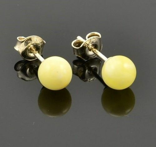 Amber Stud Earrings Made of Butterscotch Baltic Amber