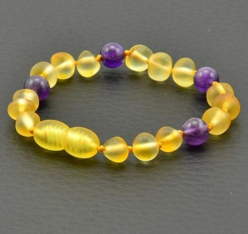 Amber Bracelet Made of Baltic Amber and Amenthyst
