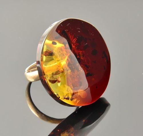 Amber Ring Made of Precious Healing Baltic Amber