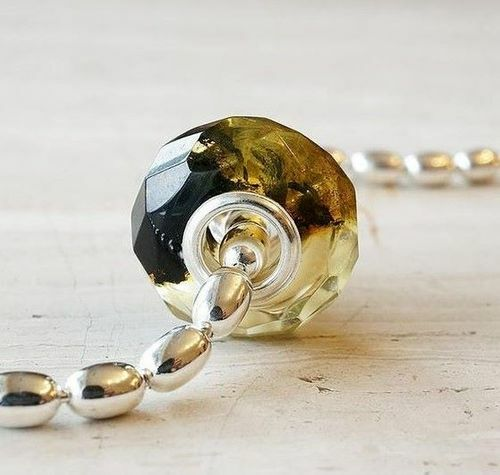 Faceted Pandora Style Amber Charm Bead Made of Baltic Amber