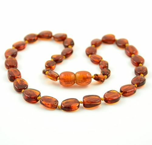Children's Amber Necklace Made of Cognac Baltic Amber