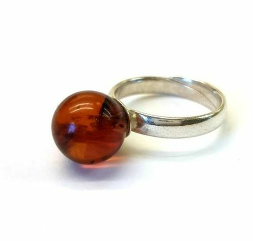 Amber Ring Made of Cherry Red Baltic Amber