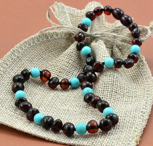 Children's Amber Necklace Made of Baltic Amber and Turquoise