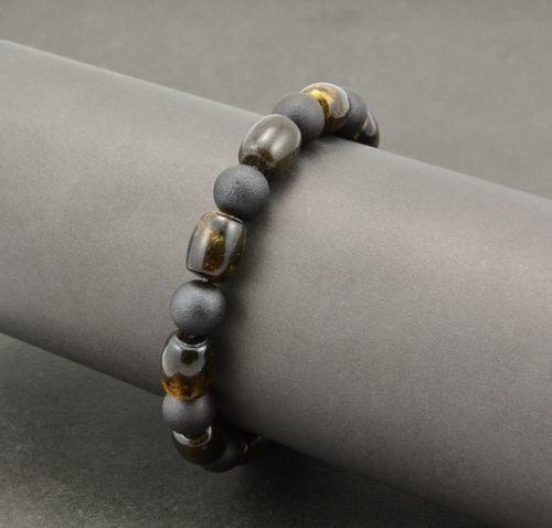 Men's Beaded Bracelet Made of Tube and Round Shape Amber Beads