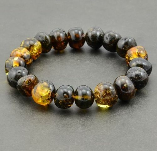 Amber Bracelet Made of Greenish Colors Baltic Amber