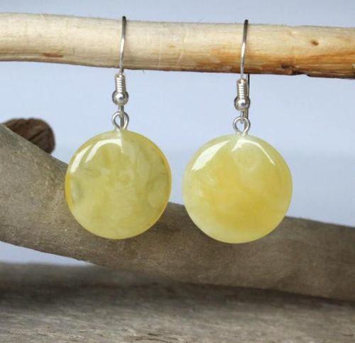 Amber Earrings Made of Healing Butterscotch Baltic Amber