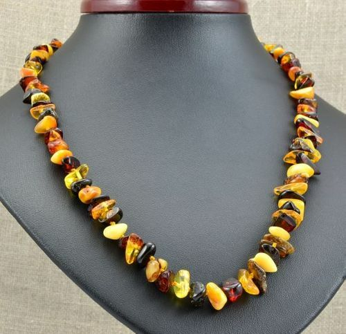 Amber Necklace Made of Nugget Shaped Baltic Amber