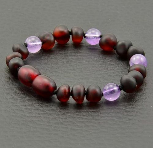 Children's Amber Bracelet Made of Baltic Amber and Amethyst