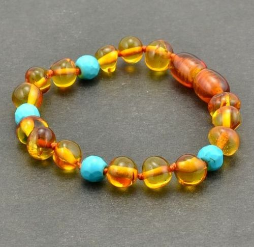 Children's Amber Bracelet Made of Baltic Amber and Turquoise
