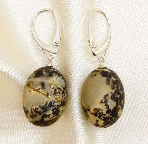 Amber Earrings Handmade of Matte Baltic Amber