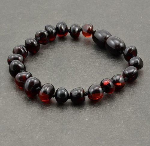 Children's Amber Bracelet Made of Cherry Baltic Amber