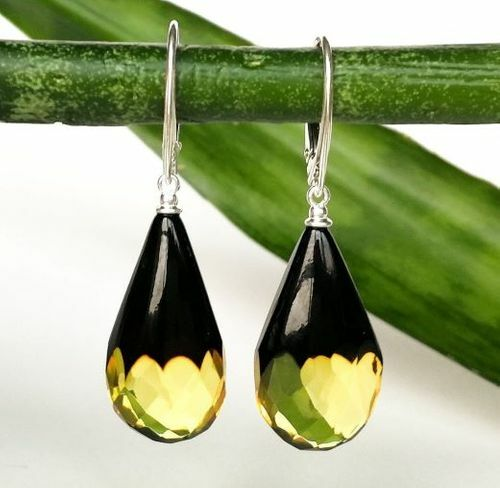 Faceted Amber Earrings Made of Precious Healing Baltic Amber