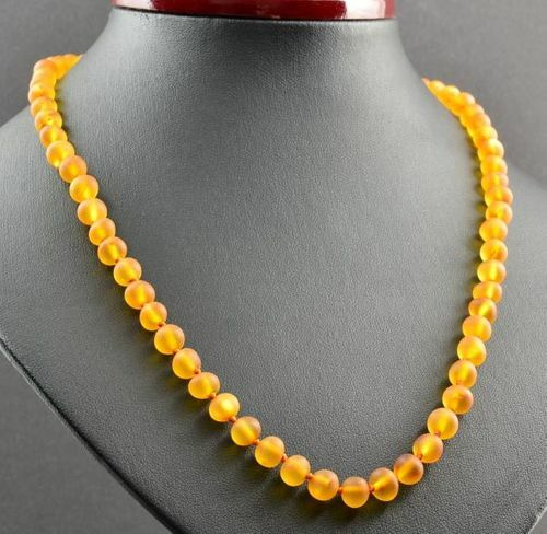 Raw Honey Amber Healing Necklace Made of Baroque Baltic Amber