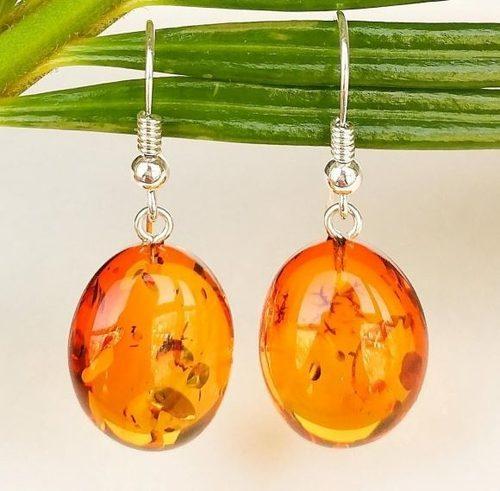 Amber Earrings Made of Healing Light Cognac Baltic Amber