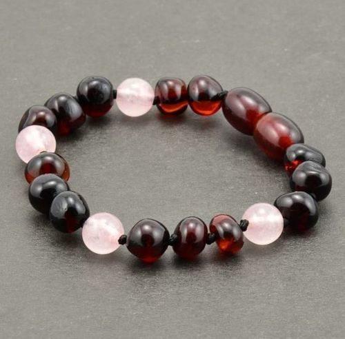 Children's Amber Bracelet Made of Baltic Amber and Rose Quartz
