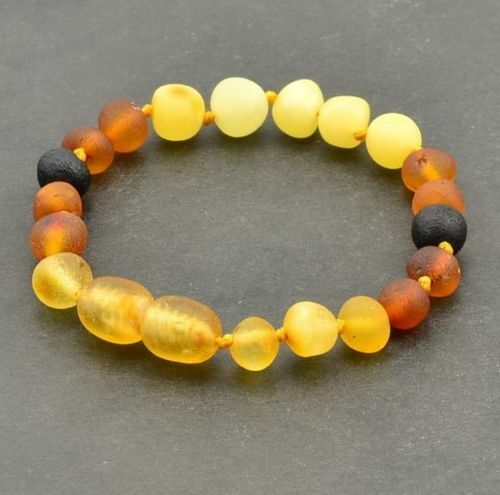 Children's Amber Bracelet Made of Matte Multicolor Baltic Amber