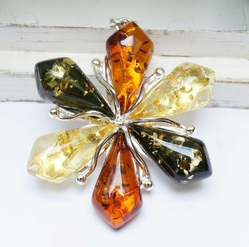 Flower Baltic Amber Pendant - SOLD OUT