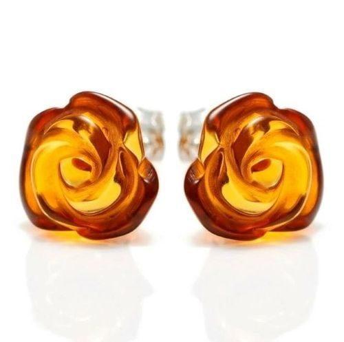 Amber Rose Stud Earrings Made of Precious Baltic Amber