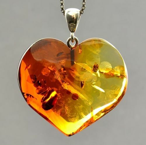 Amber Heart Pendant Made of Precious Healing Baltic Amber