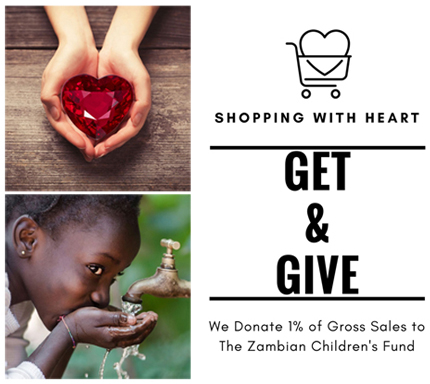 We donate 1% of GROSS SALES to the Zambian Children's Fund