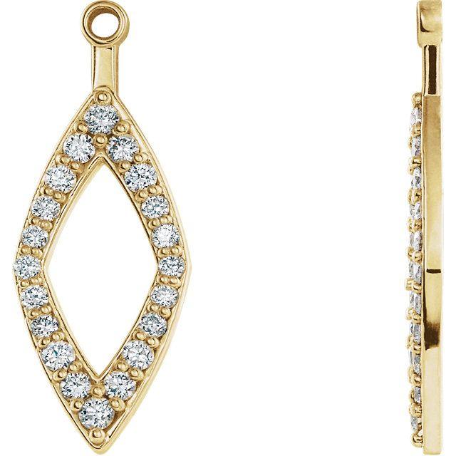 Enchanting 14 Karat Yellow Gold 1 4 Carat Total Weight Round Genuine Diamond Earring Jackets