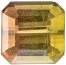 0.38 carats Bicolor Tourmaline Loose Gemstone in Emerald Cut, Peach & Yellowish Green, 4 x 4 mm