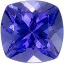 0.98 carats Tanzanite Loose Gemstone in Cushion Cut, Rich Blue Purple, 5.5 mm