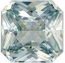 Very Desirable Unheated Green Sapphire Genuine Loose Gemstone in Radiant Cut, 1.2 carats, Light Seafoam Green, 5.87 x 5.86 mm - GIA Certificate