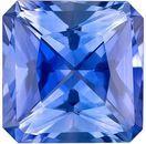 Bright & Lively Blue Sapphire Genuine Loose Gemstone in Radiant Cut, 1.25 carats, Cornflower Blue, 6 x 6 mm